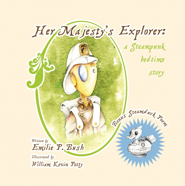 Cover image of Her Majesty's Explorer, featuring a humanoid robot in a pith helmat and a robot duck.